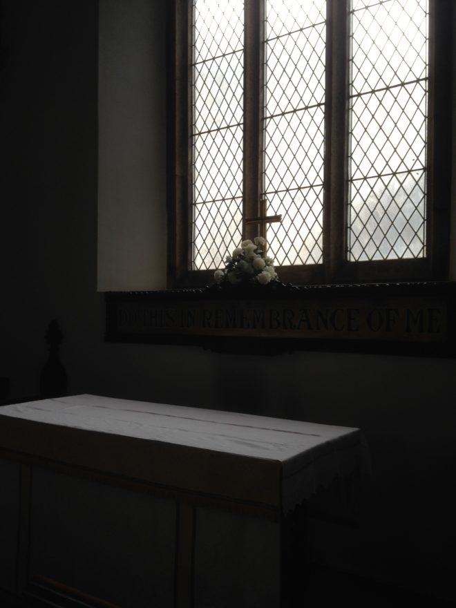 altar in English countryside church