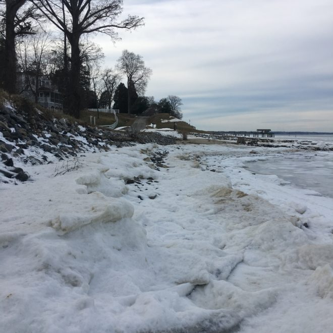 frozen river, overwhelm, encouragement, holiday season