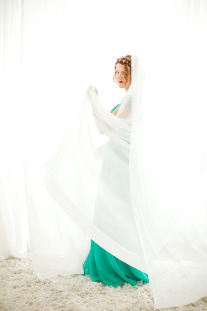s.a.borders-shoemaker, white curtains, teal dress, flower crown, vulnerable, body, positivity, testimony, redemption, love, self-worth, acceptance, yours truly portraiture